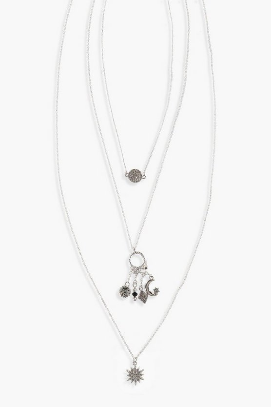 Megan Layered Diamante Charm Necklace