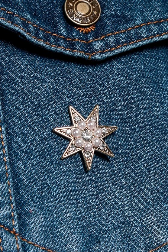 Alice Pearl And Diamante Star Brooch