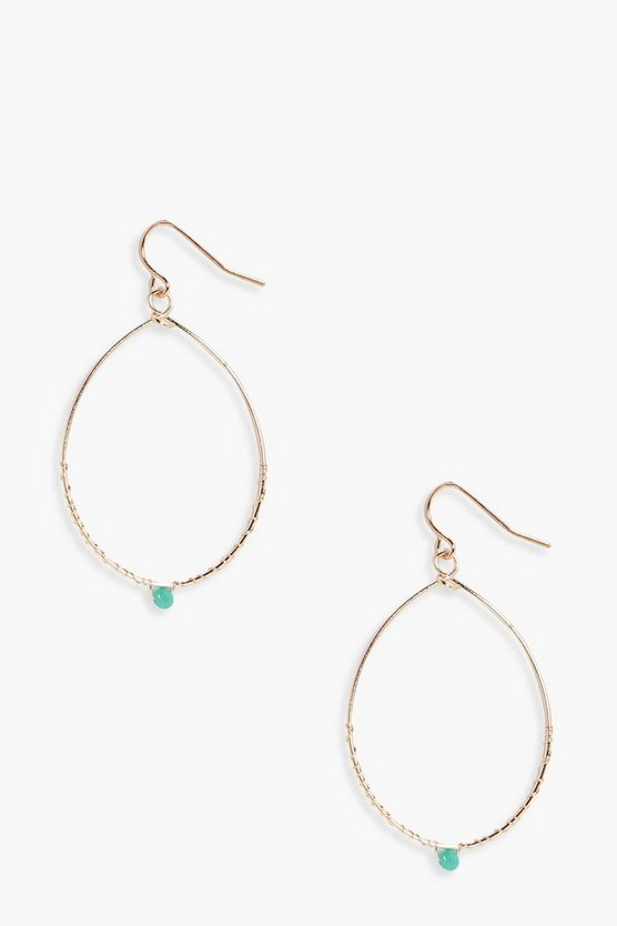 Brooke Stone Detail Oval Hoop Earrings