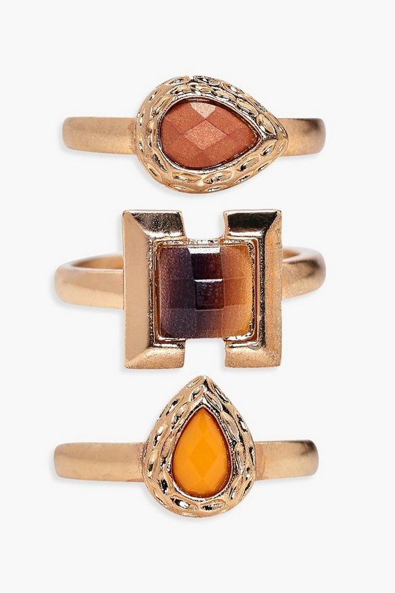 Lacey Mixed Stone Ring 3 Pack