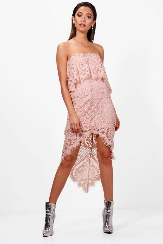 Boutique Luna Lace Off Shoulder Midi Dress