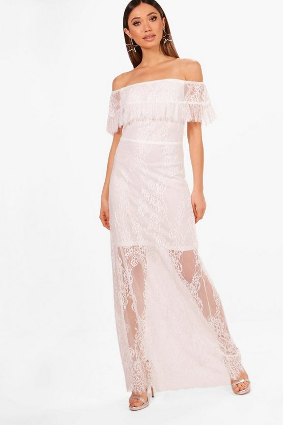 Danielle Scallop Lace Off Shoulder Maxi Dress