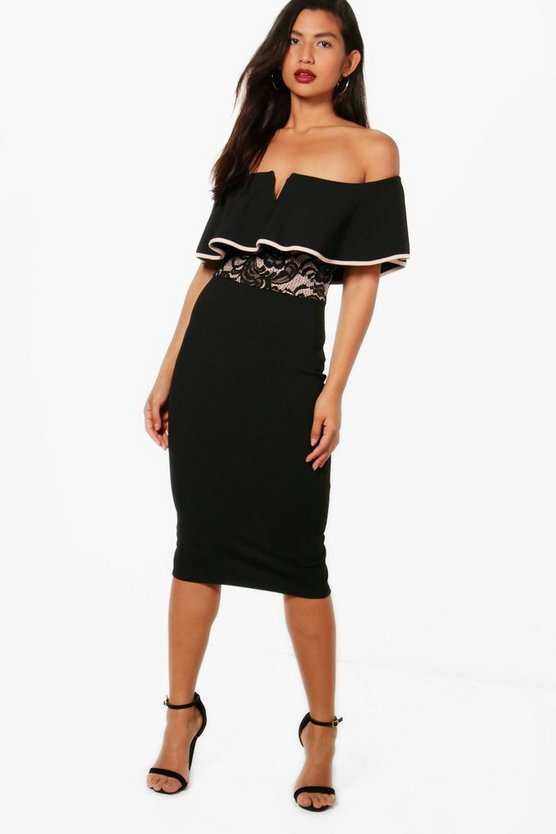 Aja Off the Shoulder Lace Insert Midi Dress