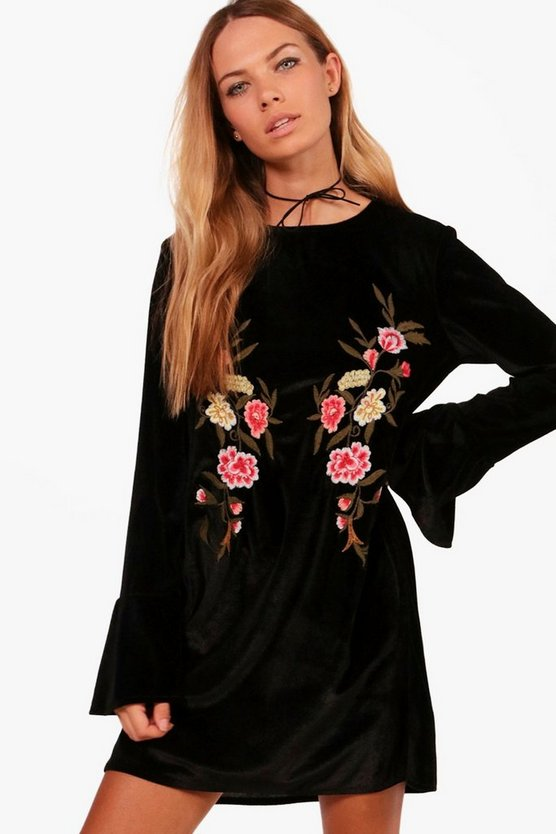 Embroidered Velvet Shift Dress