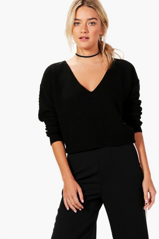 Annabella V Neck Crop Knit Jumper