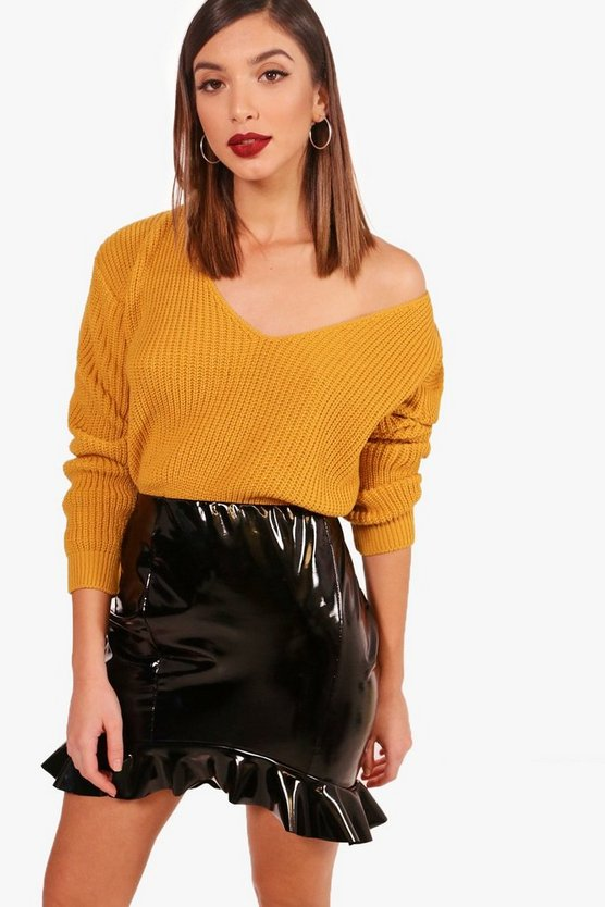 V Neck Fisherman Crop Jumper