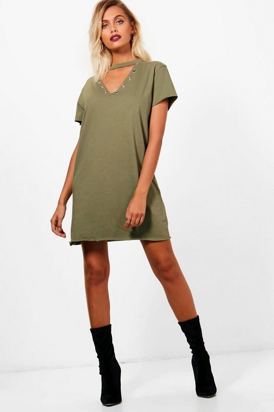 Rosa Eyelet Choker Detail T-Shirt Dress
