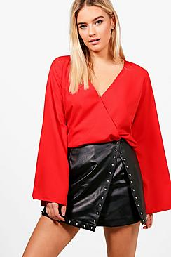 Stephanie Bluse aus Webmaterial mit Wickelfront - Boohoo.com