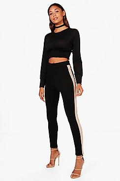 boohoo female jess contrast side stripe crepe legging