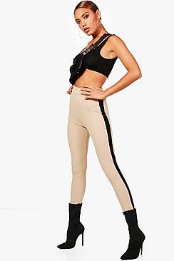 Contrast Side Stripe Crepe Legging