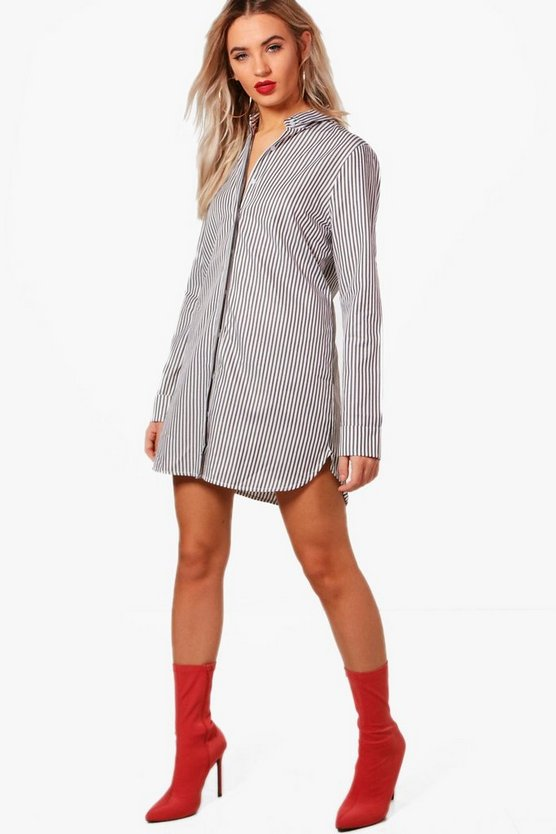 Stripe Tie Back Shirt Dress