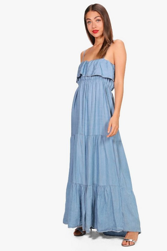 Michi Ruffle Tiered Denim Maxi Dress