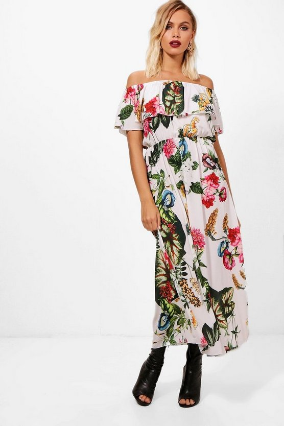 Tropical Print Off the Shoulder Maxi Dress