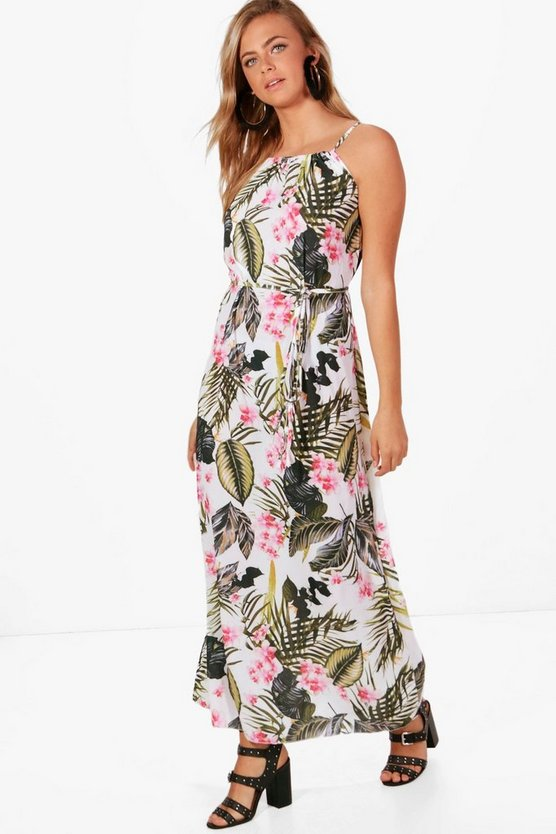 Elsie Palm Print High Neck Maxi Dress