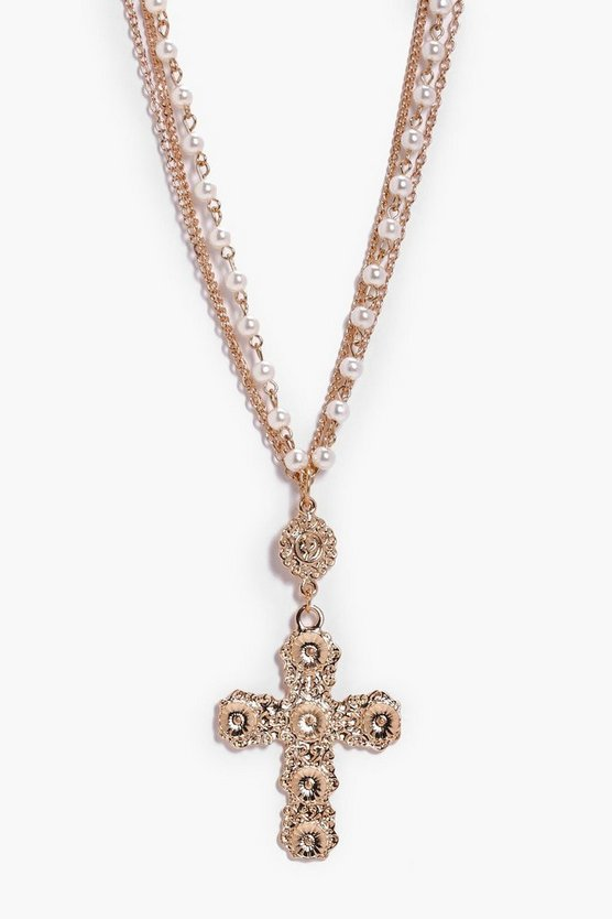 Katie Statement Cross Pearl And Chain Necklace