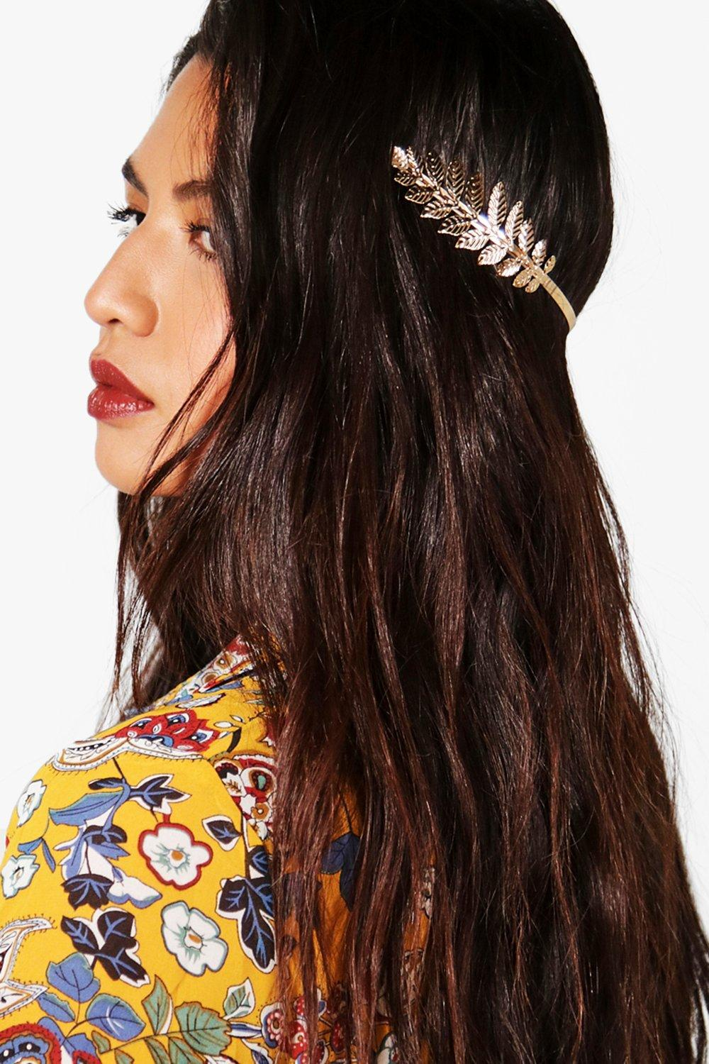 Feather Metal Headband - gold - Emma Feather Metal