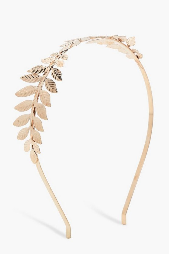 Sarah Leaf Feather Metal Headband