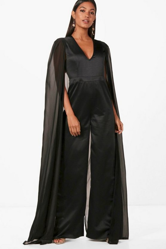 Boutique Izzy Cape Satin Tailored Jumpsuit