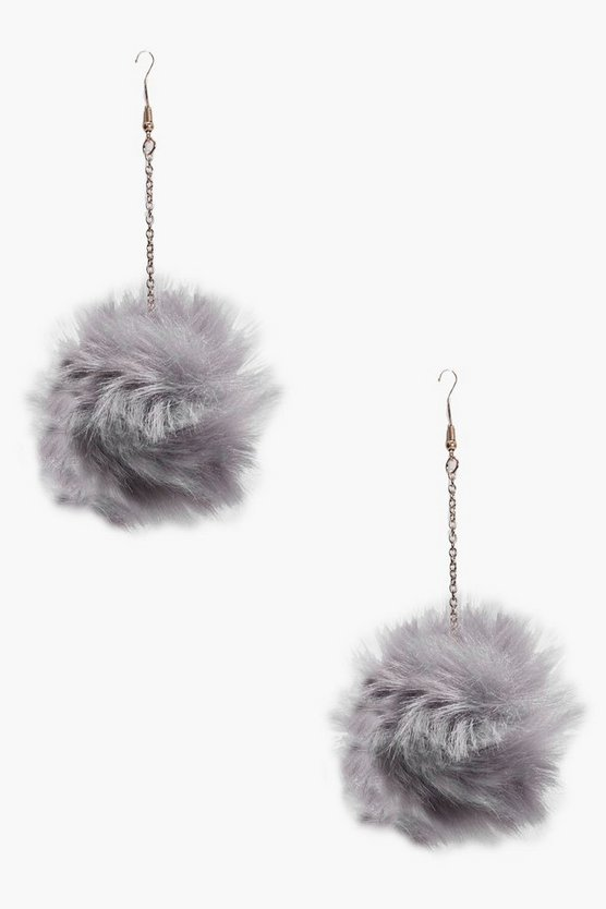 Sarah Faux Fur Pom Pom Drop Earrings