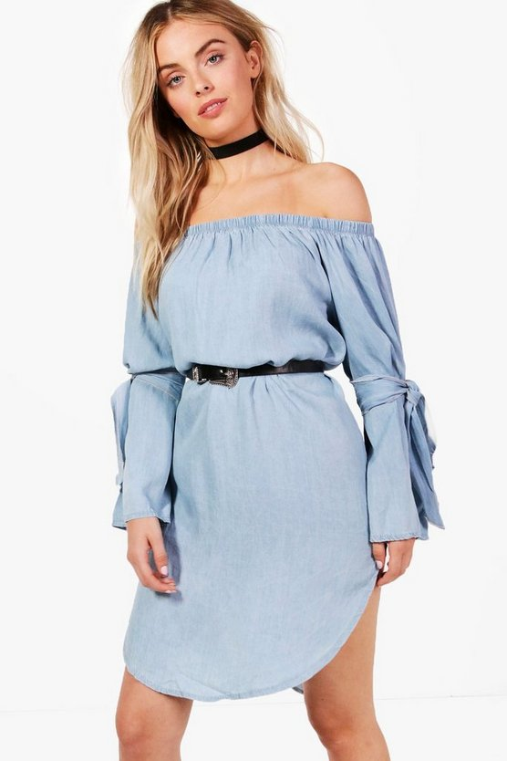 Loren Off Shoulder Tie Sleeve Denim Dress