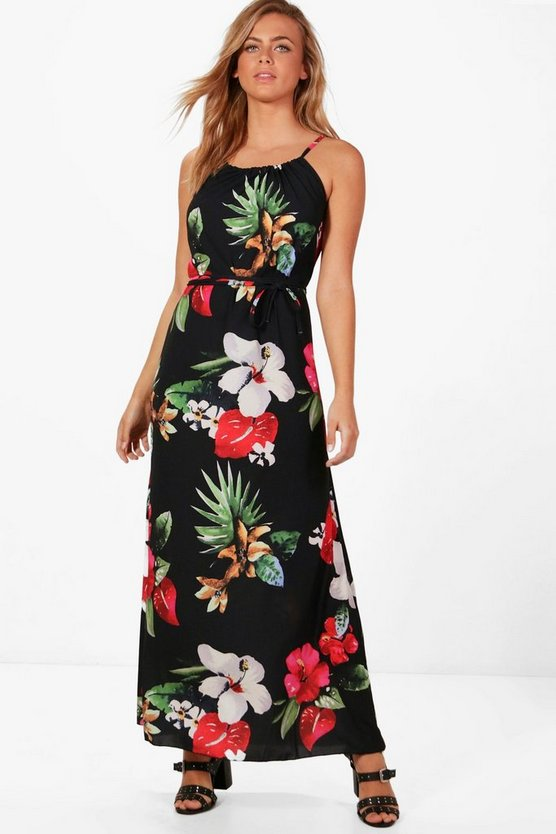 Maura High Neck Hibiscus Maxi Dress