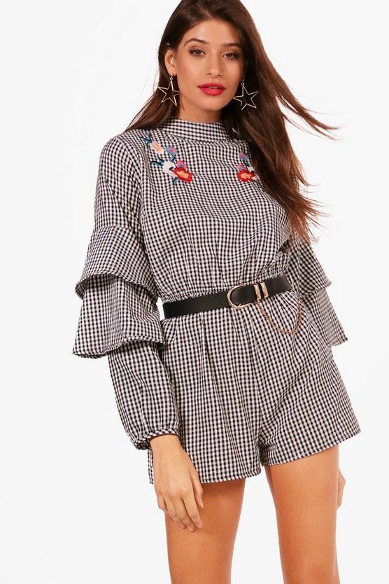Krista High Neck Applique Statement Sleeve Playsuit