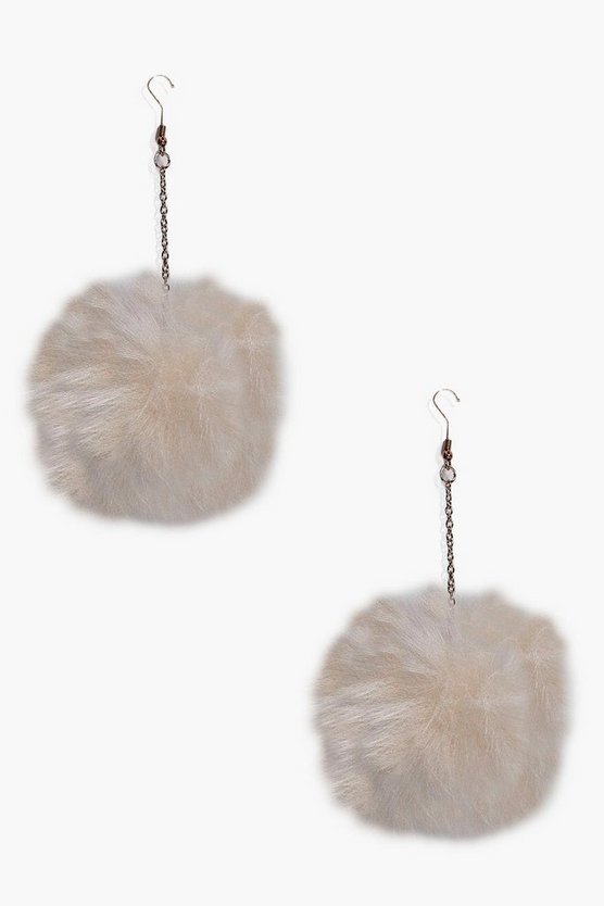 Laura Faux Fur Pom Pom Drop Earrings