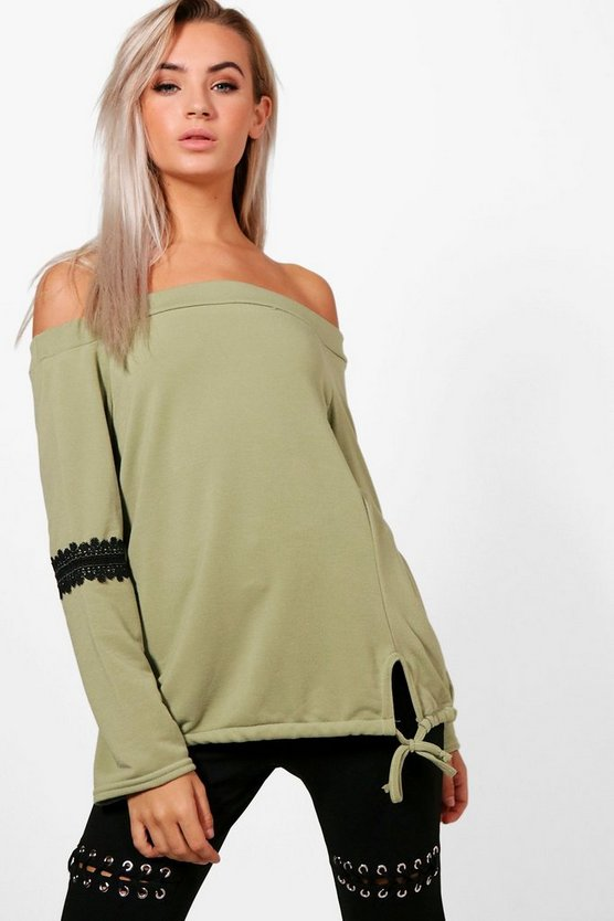 Louisa Off The Shoulder Lace Trim Sweat Top