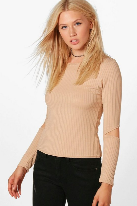 Marsa Basic Ribbed Cut Out Sleeve Crop