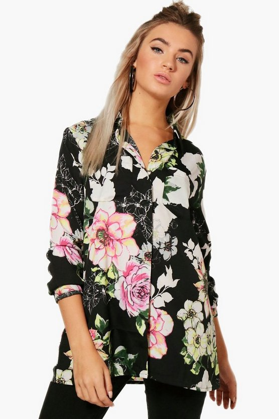 Evelyn Floral Oversized Woven Shirt Top