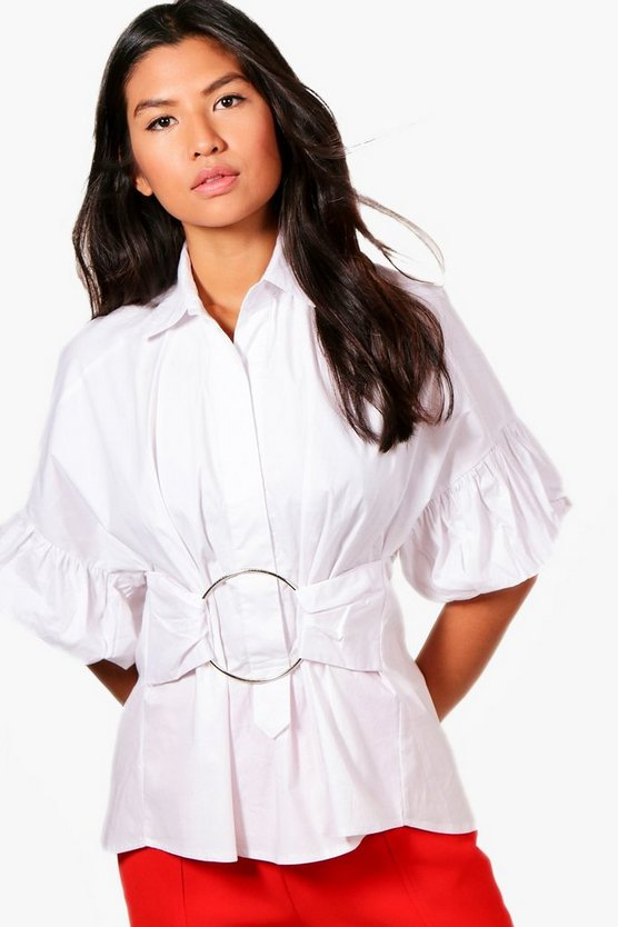 Lottie Puff Sleeve Belted O Ring Shirt