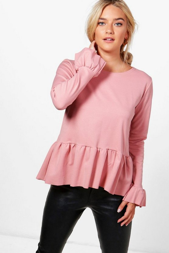 Bella Frill Sleeve Peplum Top