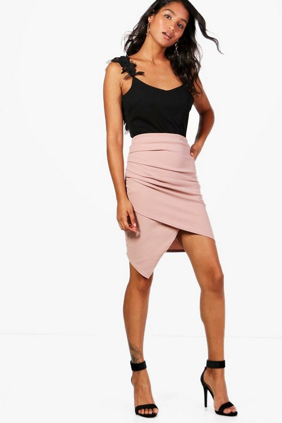 Rhona Rouched Wrap Front Mini Skirt