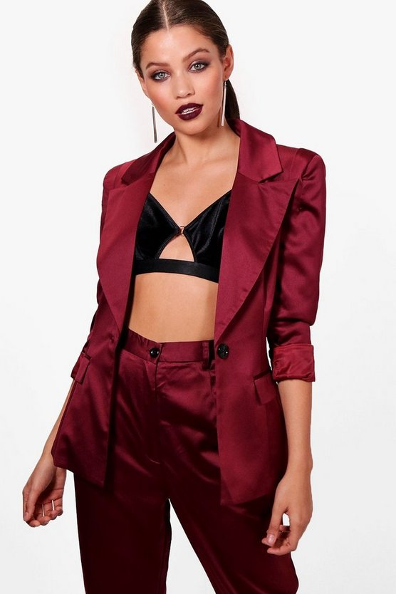 Rebecca Power Shoulder Satin Suit Jacket