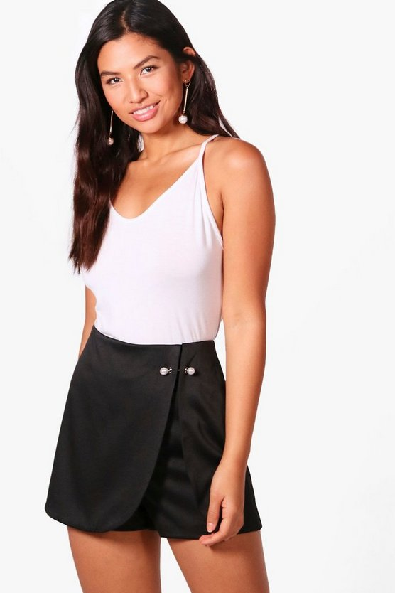 Heather Pearl Button Tailored Skort