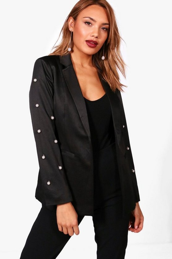 Heather Pearl Embellished Tailored Blazer