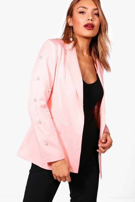 Pearl Embellished Tailored Blazer