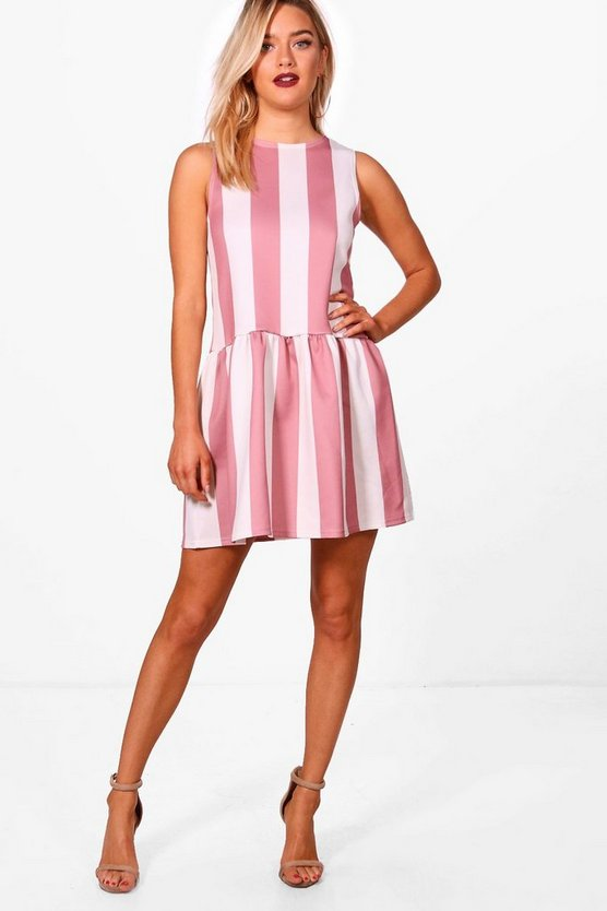 Scuba Drop Hem Stripe Shift Dress