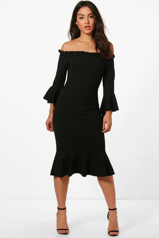 Katie Flute Sleeve and Hem Off Shoulder Midi
