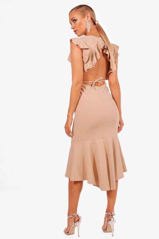 Frill Detailing Open Back Flute Hem Midi Dress