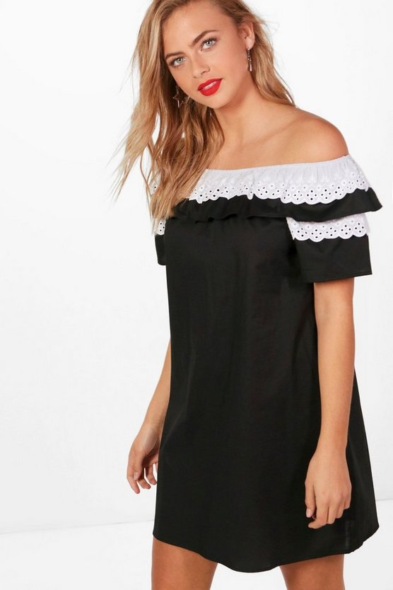 Beth Crochet Off Shoulder Shift Dress