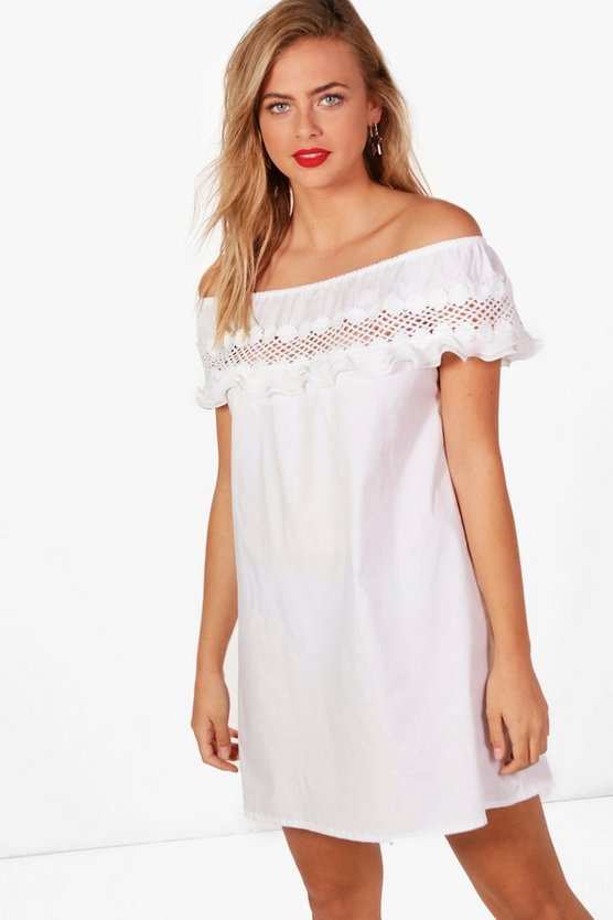 Lizzie Lace Off Shoulder Frill Shift Dress