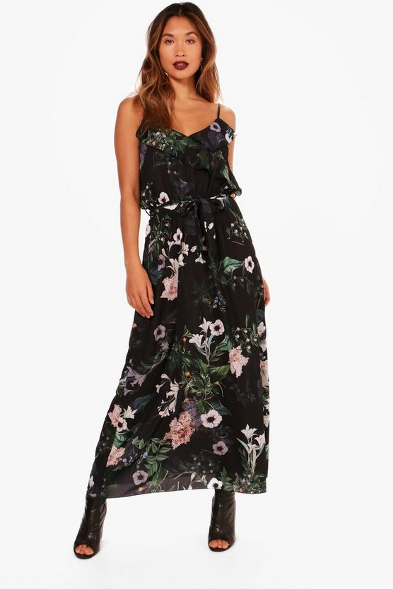 Georgina Floral Frill Maxi Dress