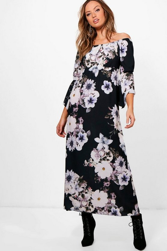 Fliss Off Shoulder Floral Maxi Dress