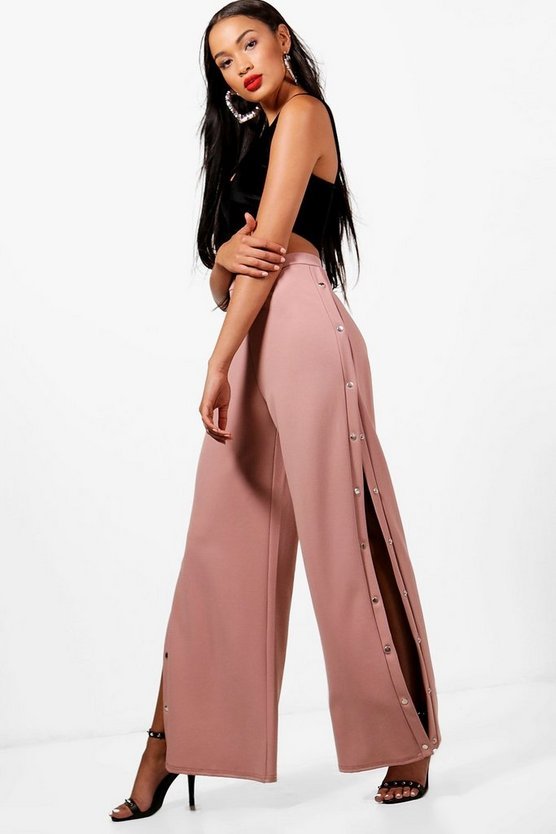 Jayne Popper Side Wide Leg Trousers