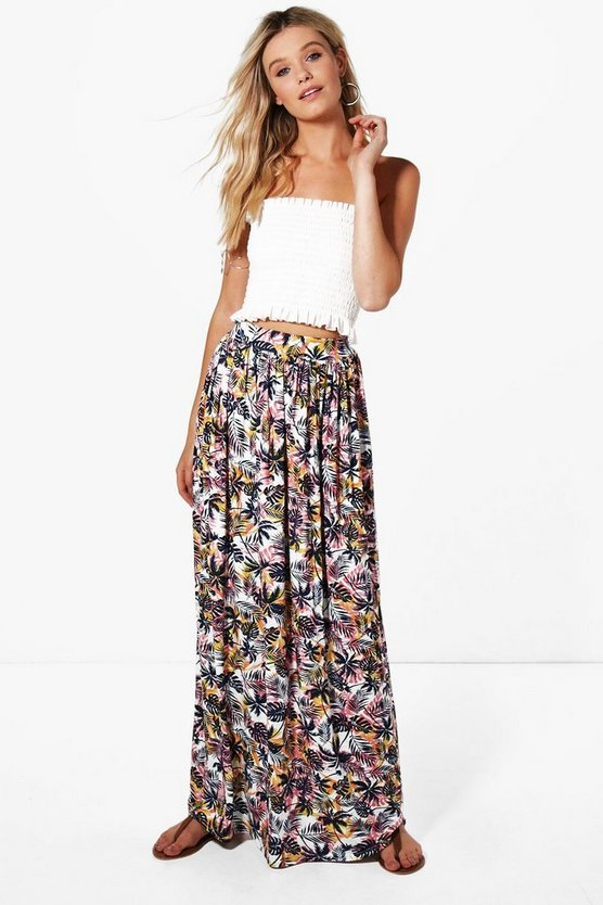Denise Tropical Palm Floor Sweeping Maxi Skirt