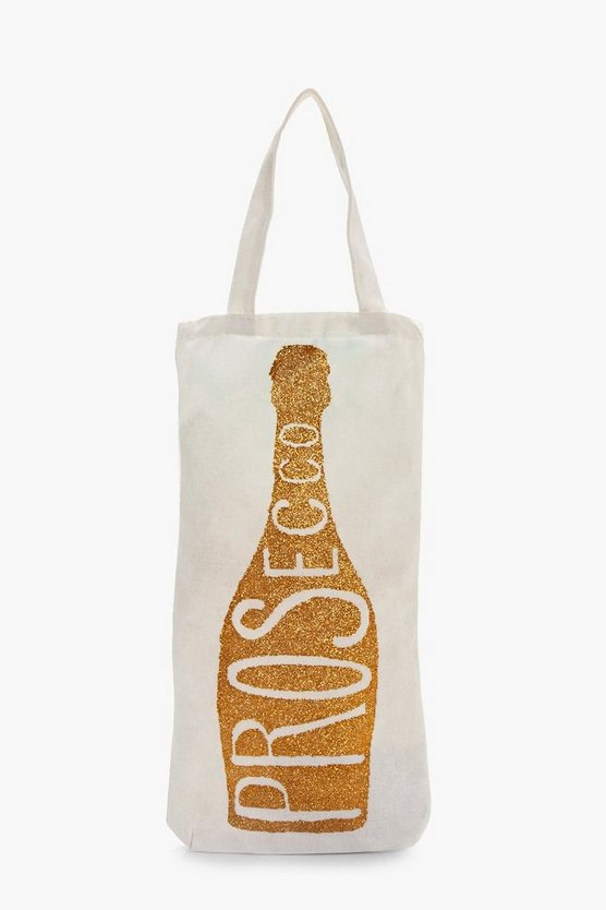 Prosecco Glitter Canvas Bottle Bag