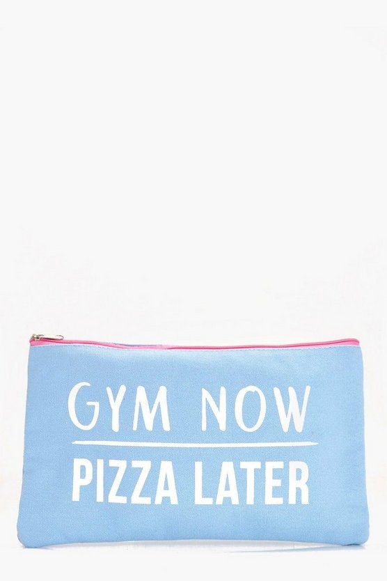 Gym Now Pizza Later Makeup Bag