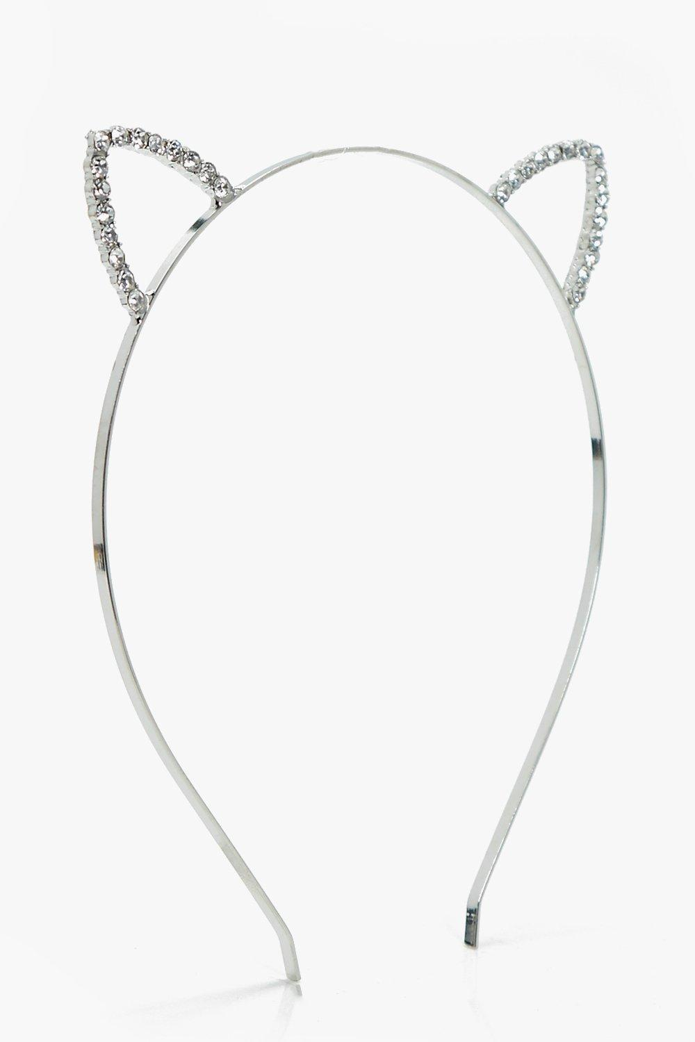 Diamante Cat Ear Headband - silver - Amber Diamant
