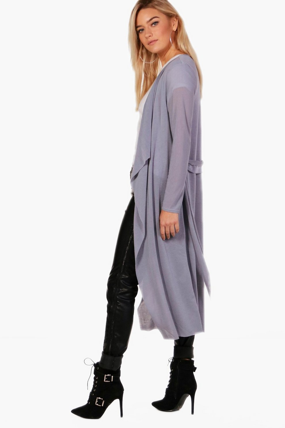 Joey Waterfall Belted Knitted Duster Cardigan | Boohoo